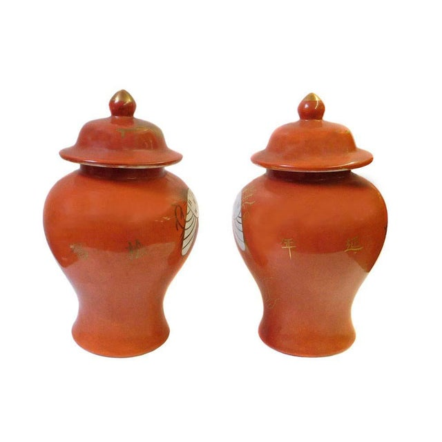 Chinese Orange Cranes Porcelain Temple Jars - Pair - Image 3 of 6