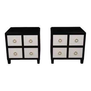 Modern Black & White Nightstands - A Pair For Sale