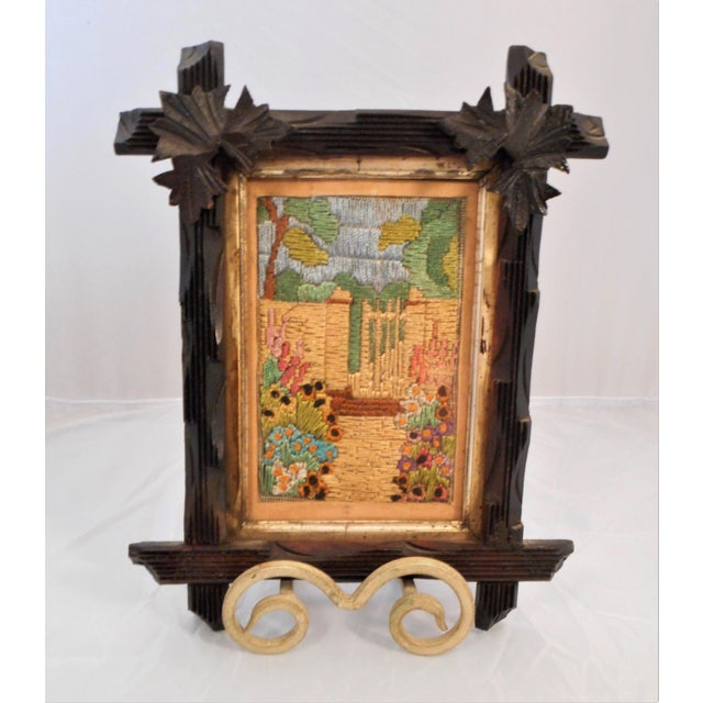 Arts & Crafts - Victorian Silk Embroidery Picture in Black Forest Frame For Sale - Image 4 of 9