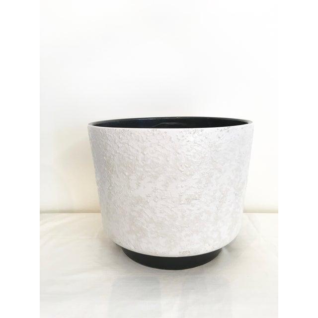 White Vintage Mid-Century White Ceramic Textured Glaze Planter For Sale - Image 8 of 8