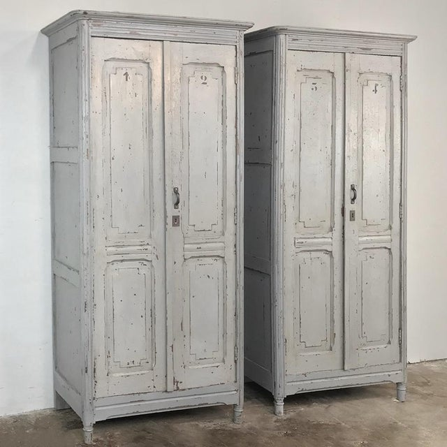 Pair Antique Painted Wooden Locker Cabinets are a truly rare find, and the stenciled numbers are still evident on the...