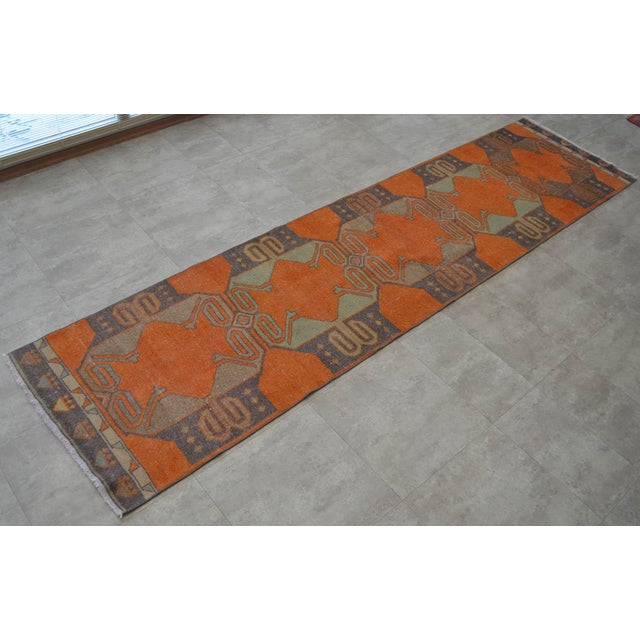 Tribal Distressed Oushak Rug Runner - Faded Colors Hallway Rug 2'9″ X 11'4″ For Sale - Image 3 of 10