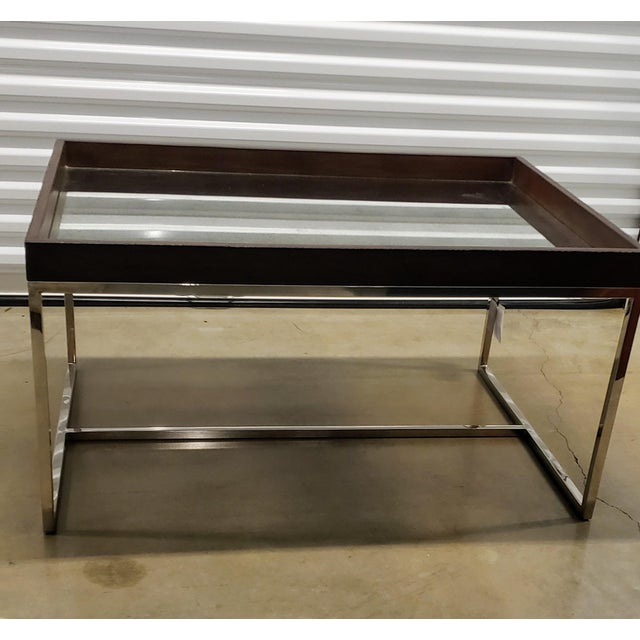 Antique Mirrored Glass, Chrome And Wood Cocktail Table