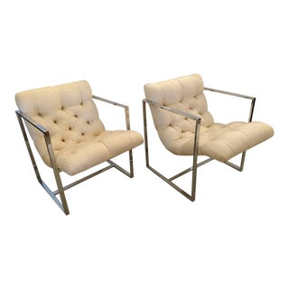 Milo Baughman, Tufted Torino Chrome Armchairs - a Pair For Sale