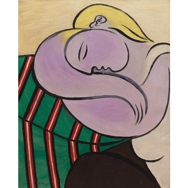 Picasso - Woman With Yellow Hair Inspired Hand Woven Area Rug Wall Rug Kilim - 4′6″ × 5′ For Sale - Image 10 of 11