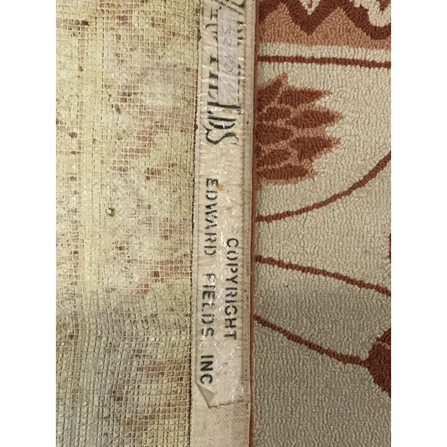 Textile Custom Edward Fields Long Coral and Cream Runner- 5′6″ × 19′ For Sale - Image 7 of 9