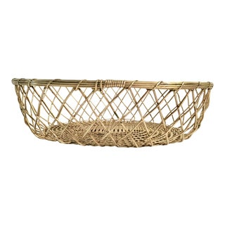 Vintage Woven Brass Fruit Basket