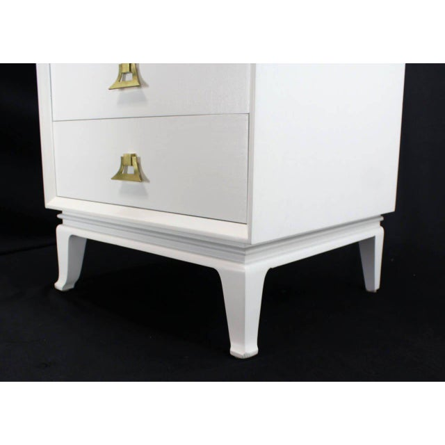 Mid-Century Modern White Lacquer Brass Pulls High Chest Stands - a Pair For Sale - Image 6 of 10
