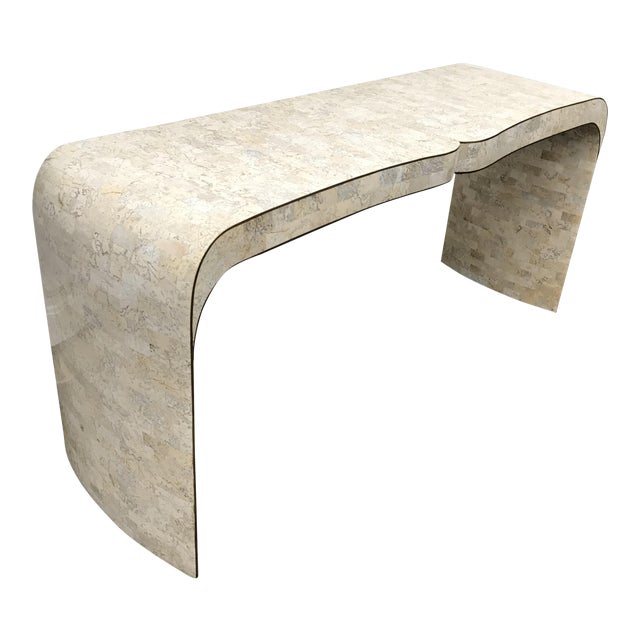Maitland-Smith Tessellated Fossil Stone Console with Brass Inlays For Sale