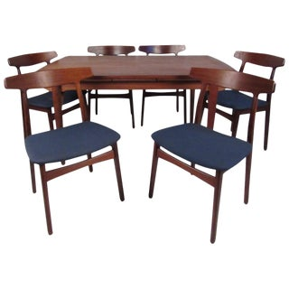 Vintage Henning Kjaernulf for Bruno Hansen Dining Chairs With Table For Sale