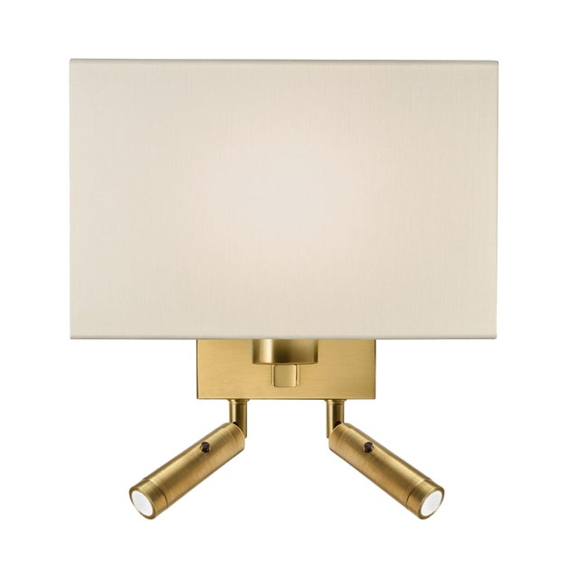 Combination Wall Light With Twin Led Reading Light in Brushed Brass For Sale