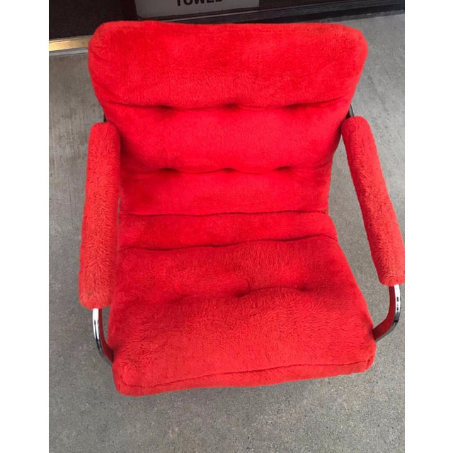 Mid-Century Modern Carson's Mid-Century Red Fur Cantilevered Chair For Sale - Image 3 of 4