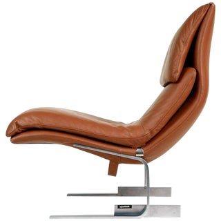 Onda Leather Lounge Chair by Giovanni Offredi for Saporiti Italia, Circa 1970