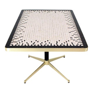 Machined Solid Brass X-Shape Base Mosaic Top Cafe Table For Sale