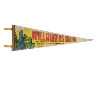 Vintage Will Rogers Shrine Colorado Felt Flag Pennant For Sale