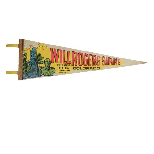 Vintage Will Rogers Shrine Colorado Felt Flag Pennant For Sale