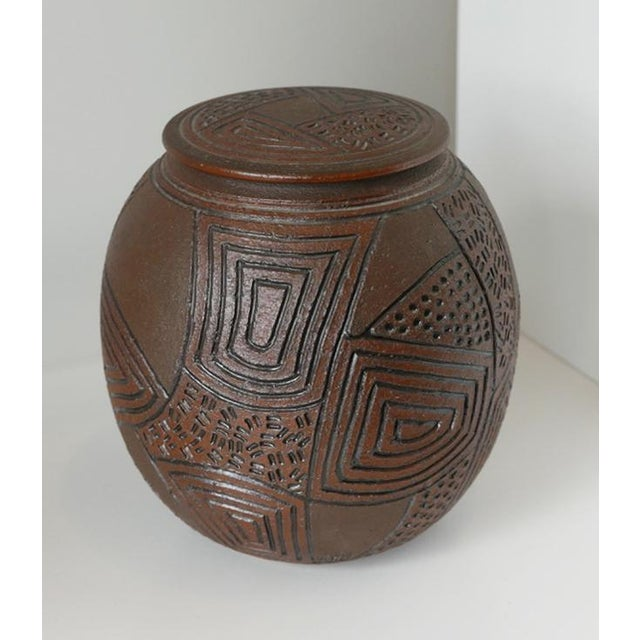 1980s J Chin Incised Pottery Jar For Sale In Palm Springs - Image 6 of 8