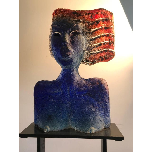 1980s Glass Sculpture of a Woman Bust on a Metal Pedestal For Sale - Image 5 of 7