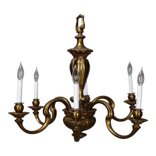 Vintage 1940s Large French Empire Bronze 6-Light Chandelier For Sale