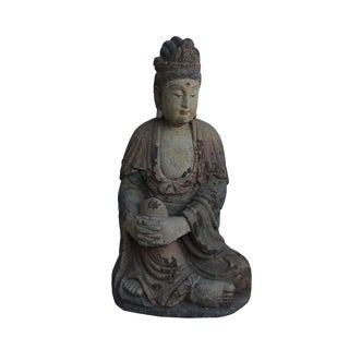 Chinese Rustic Distressed Finish Wood Kwan Yin Statue For Sale