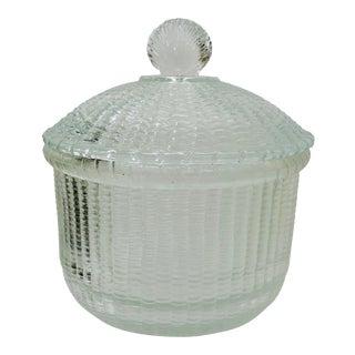 Vintage Glass Nantucket Basket Box For Sale
