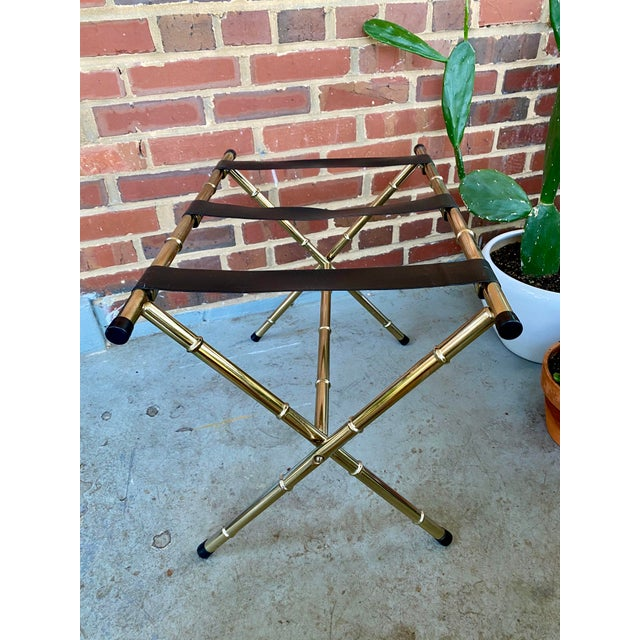 1970s Mid-Century Faux Bamboo Brass Luggage Rack. For Sale - Image 4 of 11