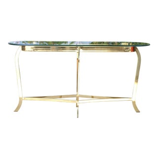 Vintage Brass Platted Console Table For Sale