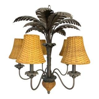 Sculptural Metal Palm Tree Chandelier For Sale