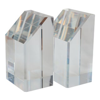 Faceted Lucite Bookends - A Pair