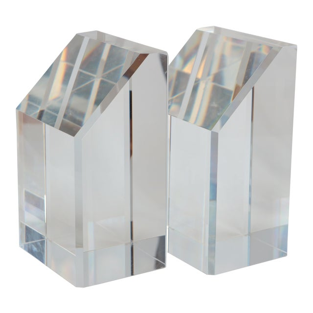 Faceted Lucite Bookends - A Pair - Image 1 of 10