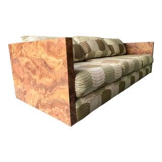 Milo Baughman Style Faux Burl Wood Sofa