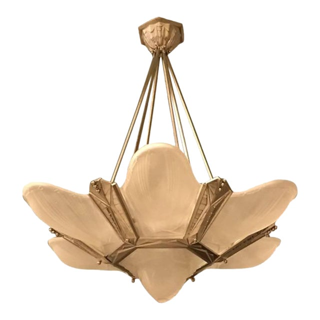 Geometric French Art Deco Chandelier Signed by Des Hanots For Sale