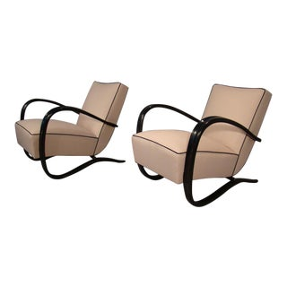 Jindrich Halabala Lounge Chairs Reupholstered in Knoll Star Struck - a Pair For Sale