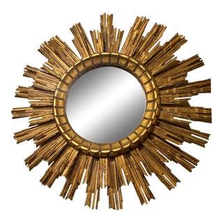 Vintage Double Layers Gilt Sunburst Mirror For Sale