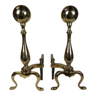 Large Vintage Brass Fireplace Andirons - A Pair