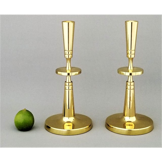 Art Deco Restored Solid Brass Candlesticks by Parzinger- a Pair For Sale - Image 3 of 13