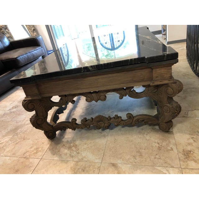 Traditional 1960s Traditional Coffee Table With Marble Top For Sale - Image 3 of 9
