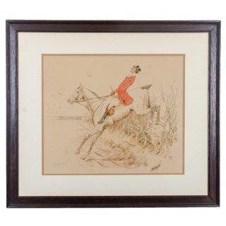 Antique English Traditional Gentleman on Horseback Hunt Print For Sale
