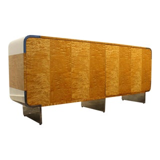 Leon Rosen for Pace Credenza Cabinet in Tiger Maple and Chrome For Sale
