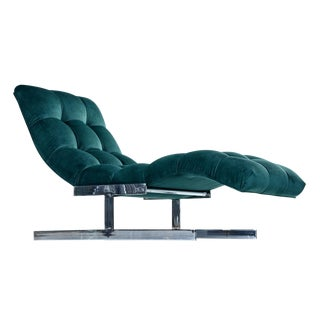 Milo Baughman Style Wave Chaise Lounge by Carsons, New Forest Green Velvet For Sale