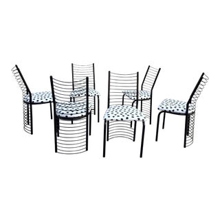 Modern Regency Style Wire Barrel Chairs - Set of 6 For Sale