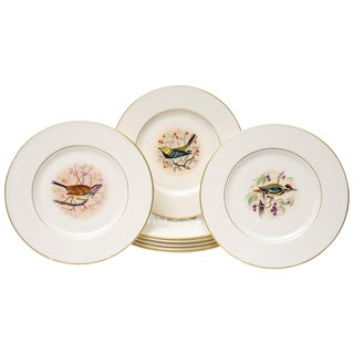 Eight Dessert Plates, Hand-Painted Song Birds by Jan Nosek, Vintage Lenox For Sale
