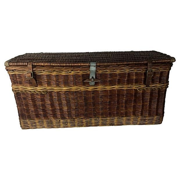 Antique English Carriage Travel Trunk - Image 2 of 3