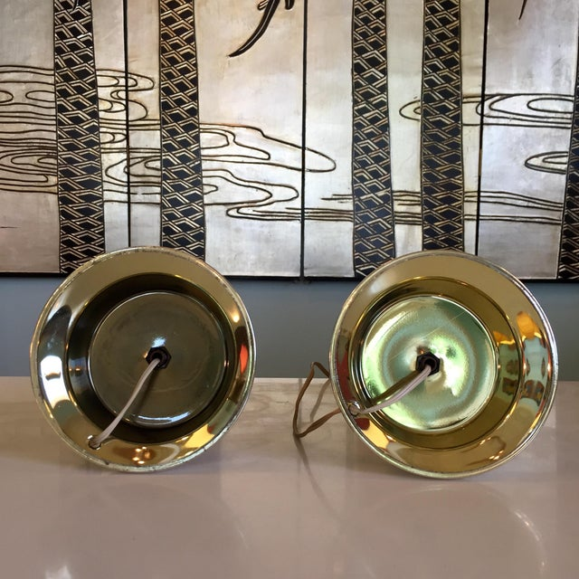Brass 1950s Celestial Glass Lamps- a Pair For Sale - Image 7 of 10