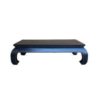 Oriental Black Lacquer Rectangular Curved Legs Coffee Table For Sale