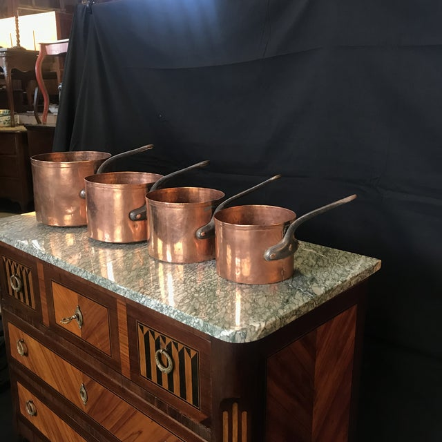 Mid 19th Century Graduated French Copper and Iron Pots- Set of 4 For Sale In Portland, ME - Image 6 of 7