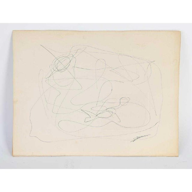 Mid-Century Modern Vintage Abstract Line Drawing on Paper For Sale In Chicago - Image 6 of 6