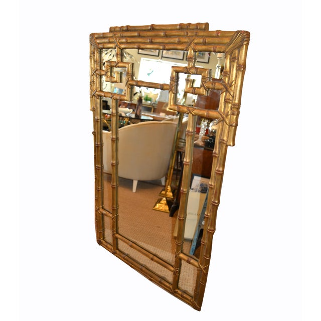 1970s Hollywood Regency Golden Faux Bamboo Greek Key Wall Mirror For Sale - Image 5 of 13