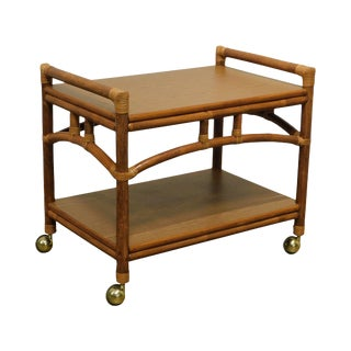Vintage Bamboo Two Tier Serving Cart For Sale