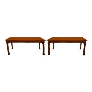 Pair of Chinese Chippendale English Mahogany Consoles For Sale